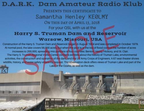DARK Truman Dam Certificate